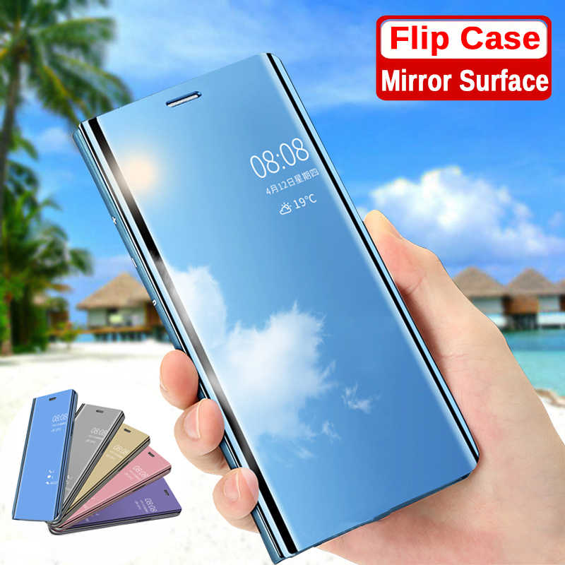 Mirror Flip Case On Redmi Go For Xiaomi Redmi Note 7 Leather Back Cover On Red mi 6a Note 5 6 7 Pro 4a S2 Y1 Lite Xiomi Shell