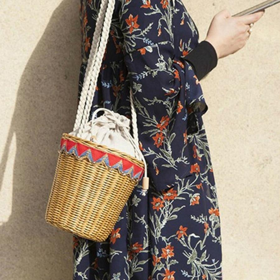 Women Fashion Woven Straw Bucket Bag Summer Retro Shoulder Bag Bohemia Travel Beach BagWomen Fashion Woven Straw Bucket Bag Summer Retro Shoulder Bag Bohemia Travel Beach Bag