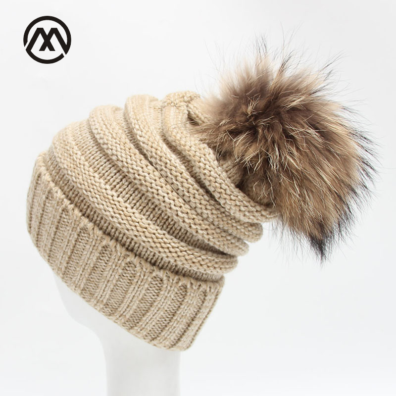 Winter Fancy Women Real Raccoon Fur Ball Hat   Skullies     Beanie   Warm pompoms knitted cap Popsocket Caps Female Bonnet Bobble Hats