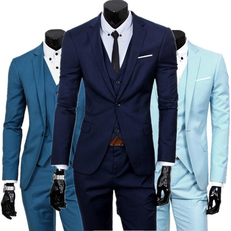 Blazer hosen weste set/2018 herrenmode drei stück anzug sets/männlich business casual jacke weste hosen blazer