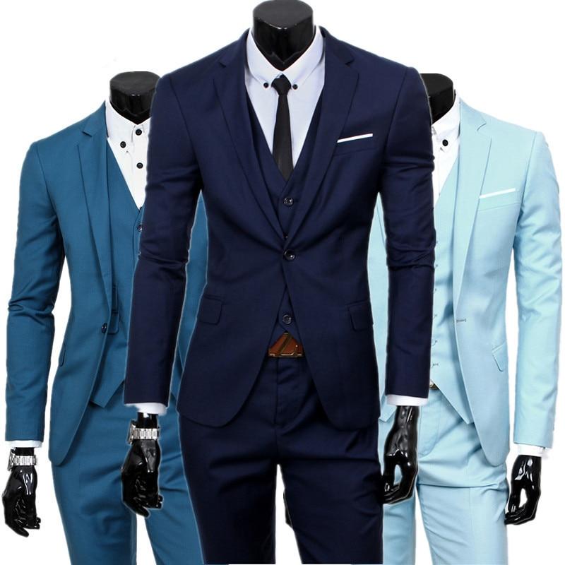 blazers pants vest set / 2019 Men's fashion three piece suit sets / male business casual coat jacket waistcoat trousers blazer