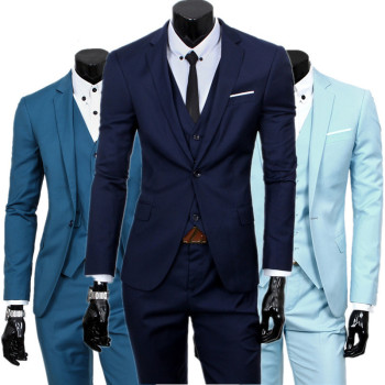 blazers pants vest set / 2019 Men's fashion three piece suit sets / male business casual coat jacket waistcoat trousers blazer
