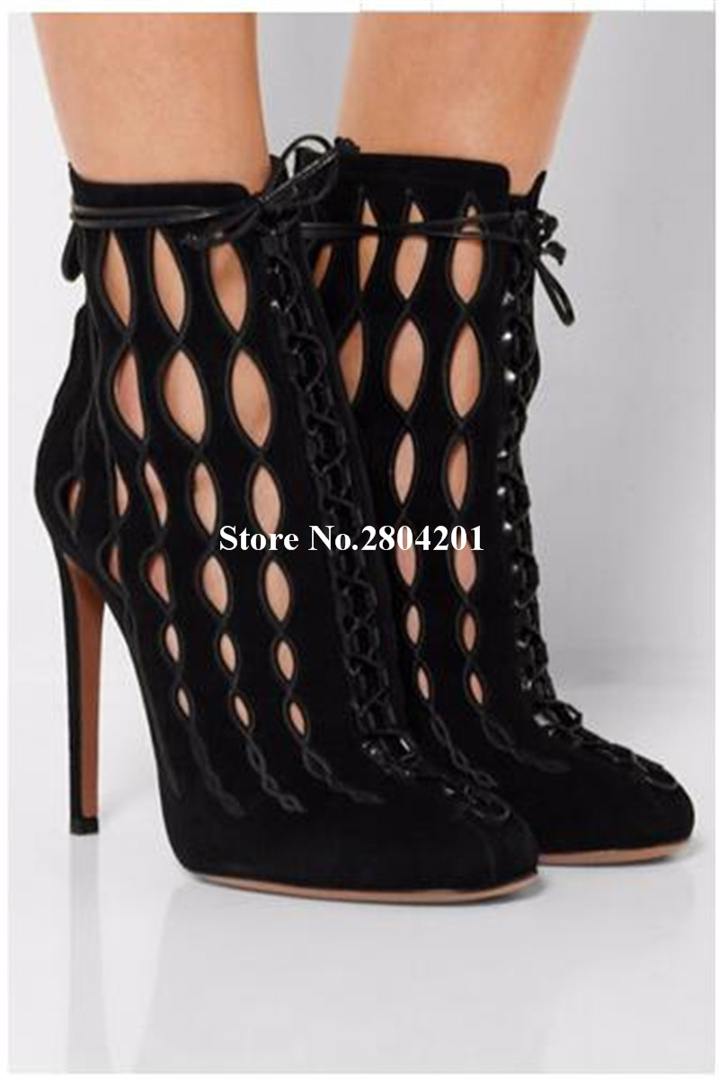 Top Selling Pumps Cutouts Round Toe Stiletto Heels Cross-tied Cover Heel Lace Up Zipper Detail Solid Color Thin High Heels Black