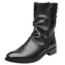 Men Boots Winter 2019 Leather Short Boot British Style Shoes Flat Heel Work Motorcycle Casual Ankle