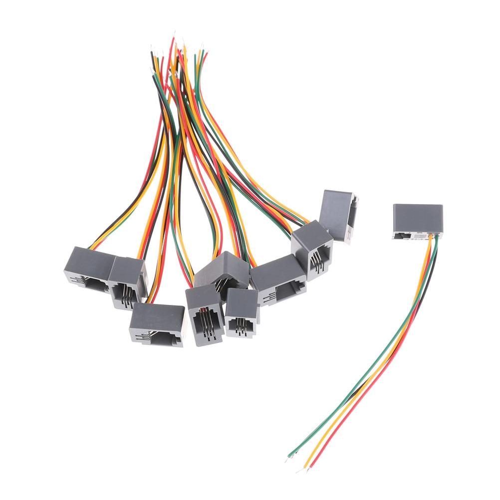 10 Pcs 616E 4P4C RJ11 Female Telephone Connector Adapter 4 Wires 8cm