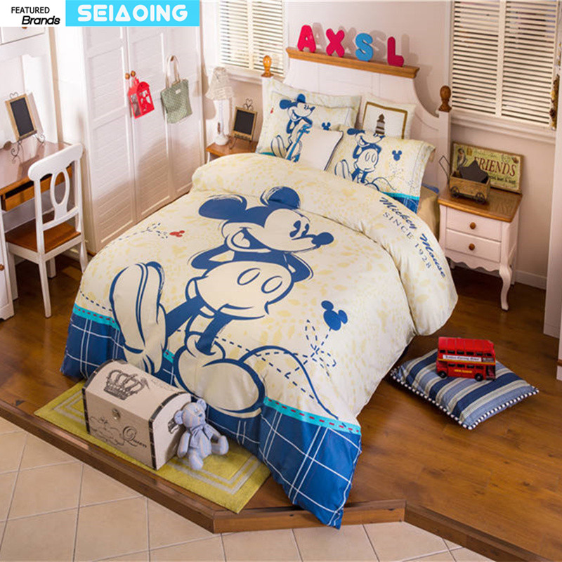 blue mickey mouse bedding sets for boys home decor cartoon bed linen cotton quilt duvet cover comforters twin full queen sizesblue mickey mouse bedding sets for boys home decor cartoon bed linen cotton quilt duvet cover comforters twin full queen sizes