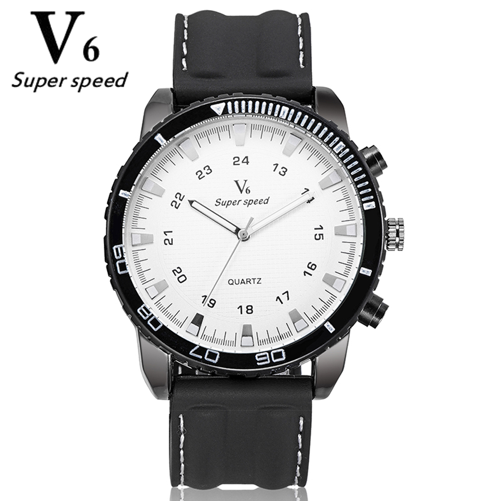 V6 Men's Fashion Brand Quartz Watch Big Dial Silicone Watches Male Leisure Sports Watches New Hour Relogio Masculino 2016 Clock free shipping sports fashion silicone quartz watch men v6 brand hours big face wrist watch c6428