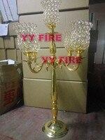 Роскошный золотой цвет русалка 5 Arm Tuilp канделябры полые гладить художественный Ретро подсвечник свадебный реквизит дорога ведет