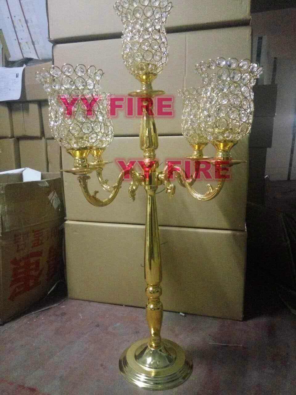 Luxury Gold Color Mermaid 5 Arm Tuilp Candelabra Hollow Iron Artistic Retro Candle Holder Wedding Props Road leads