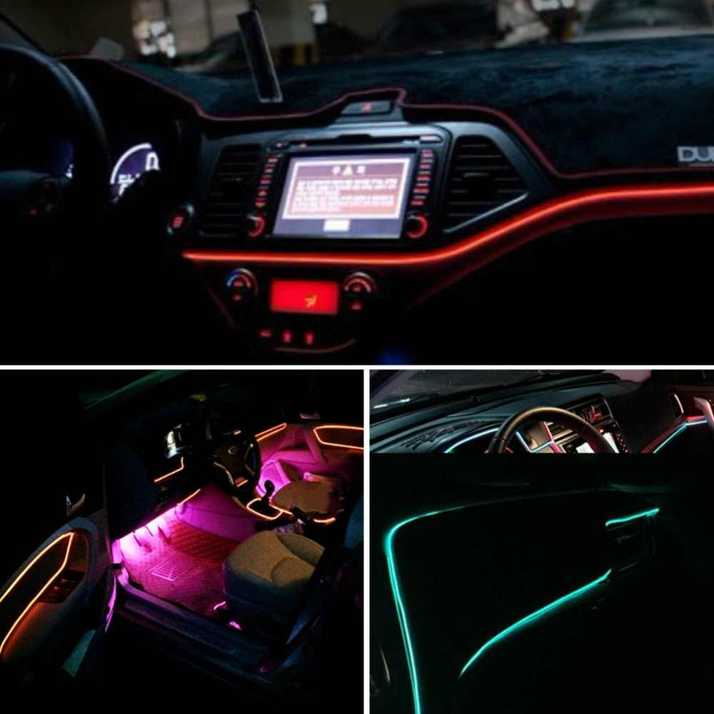Светодиодный элемент с холодным светом линии автомобиля декоративный свет окружающего света авто подсветка флуоресценции 5 в ICE BLUE контроллер 1 м 2 м 3 м 4 м 5 м автомобильный набор