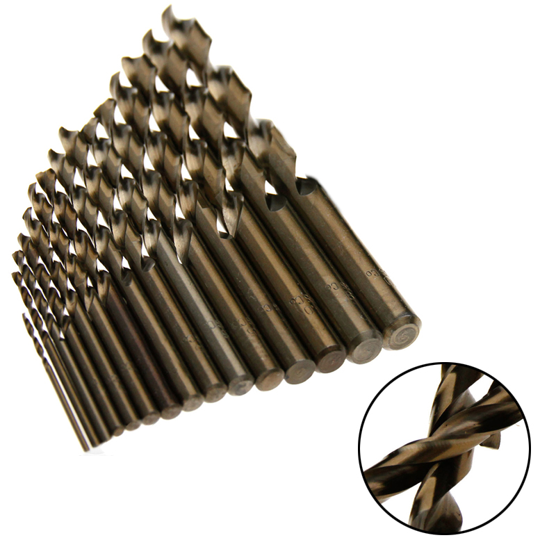 15pcs/set HSS-CO 1.5-10mm High Speed Steel M35 Cobalt Twist Drill Bit Wood Metal Working Drilling Power Tools Set Mayitr sima land 2 6 7 910014