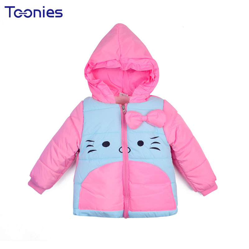 Coats for Girls 2017 New Winter Girl Coats Child Thicker high quality Cotton Hooded Kids Clothes Cartoon Jacket Bow Down Jackets new arrival spring printing pattern cotton 2017 child cartoon design fox baby hooded boy girl jacket outwear coats kids clothing