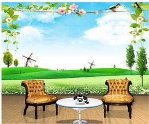 3d обои для ванной комнаты фото 3d обои пейзаж луга ветряная мельница птица фрески 3d обои для комнаты