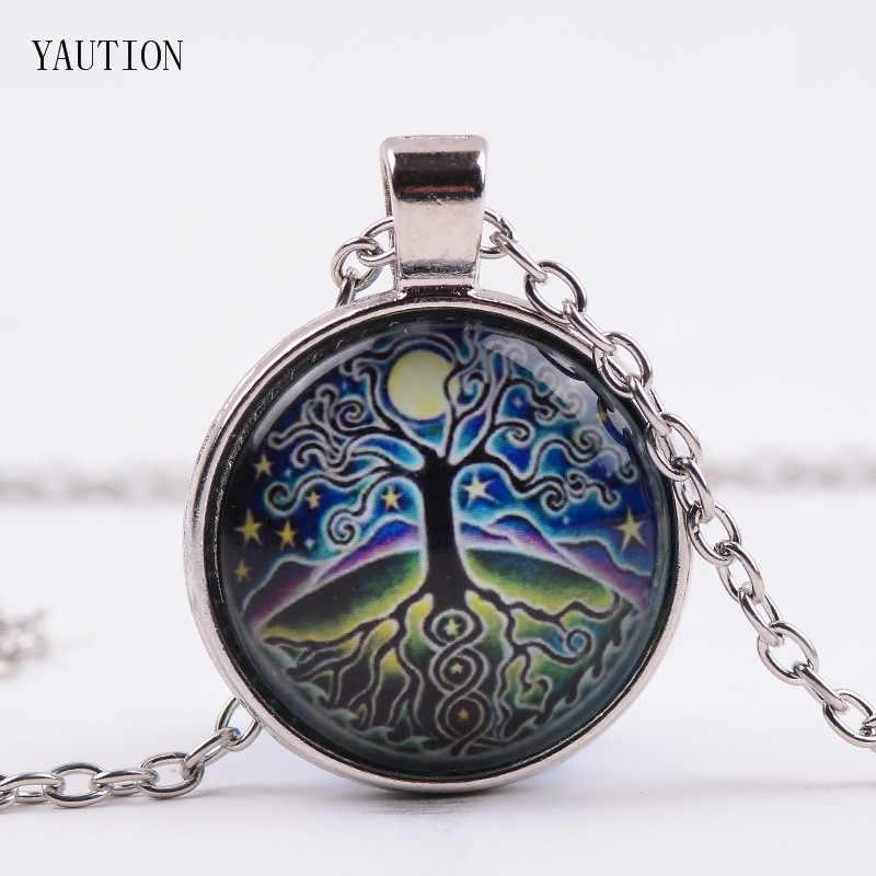 YAUTIONแก้วรูปภาพจี้ต้นไม้แห่งชีวิตสร้อยคอสร้อยคอแก้วจี้สำหรับผู้หญิงของขวัญเครื่องประดับ