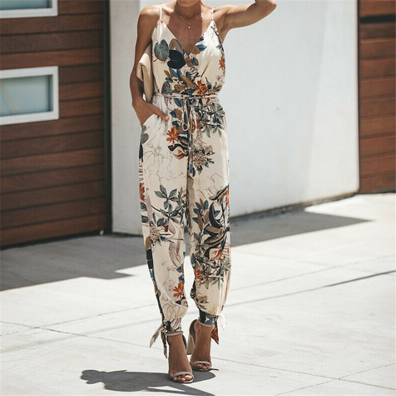 Womens Sexy Spaghetti Strap Summer Sleeveless   Jumpsuit   Wide Legs Pants Trouser V-Neck Flower Printed Casual   Jumpsuit   Bodysuits