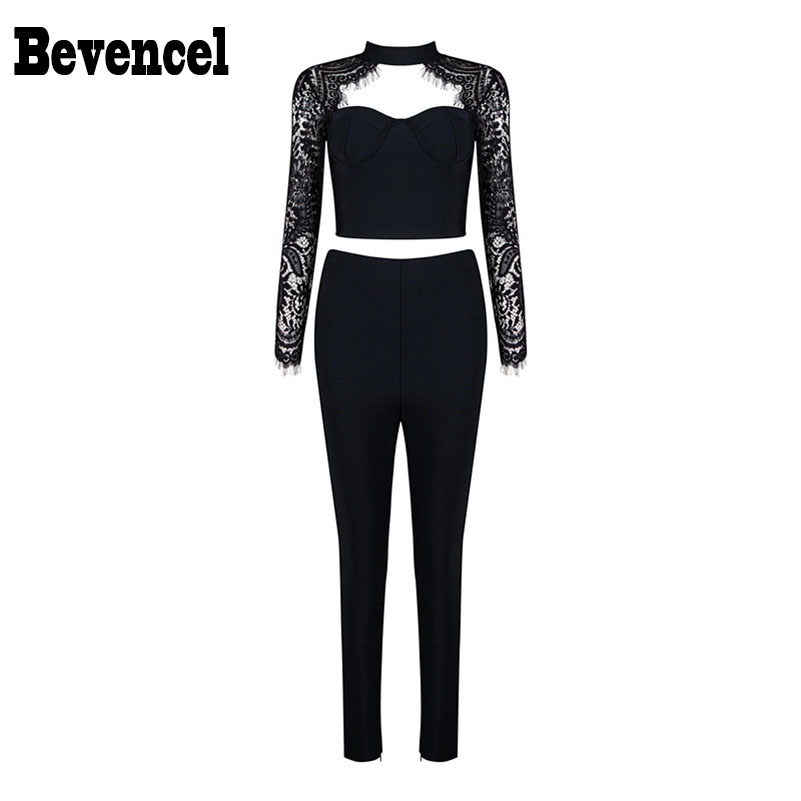 Bevencel 2016 New Arrival Women Jumpsuit Sexy Long Lace Sleeves Halter Bodycon Chic Women Party Two Piece Sets Bandage Jumpsuit