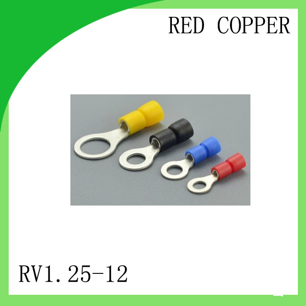 High quailty red copper 1000 PCS RV1.25-12 Cold Pressed Terminal Connector Suitable for 22AWG - 16AWG  Cable lug