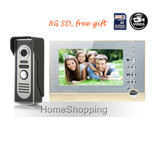 Cheapest prices FREE SHIPPING NEW 7 inch Record Screen Video Intercom Door phone System + Waterproof Night Vision Door Camera + 8G SD WHOLESALE