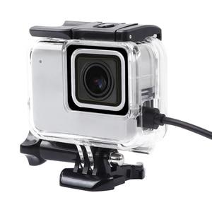 Image 1 - שלד מגן שיכון מקרה צד פתיחת ואחורי עם חור עם עדשת זכוכית עבור GoPro גיבור 7 לבן כסף אבזרים