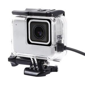 Image 1 - Boîtier de protection squelette boîtier ouverture latérale & porte arrière avec trou avec verre dobjectif pour GoPro Hero 7 accessoires argent blanc