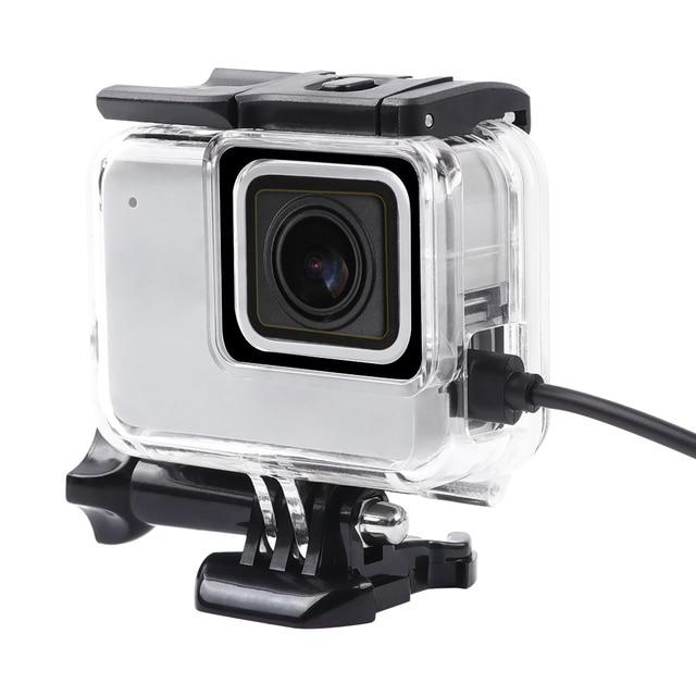 Boîtier de protection squelette boîtier ouverture latérale & porte arrière avec trou avec verre dobjectif pour GoPro Hero 7 accessoires argent blanc