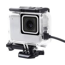 İskelet koruyucu kılıf konut yan açılış ve Backdoor delikli lens cam GoPro Hero 7 beyaz gümüş aksesuarları