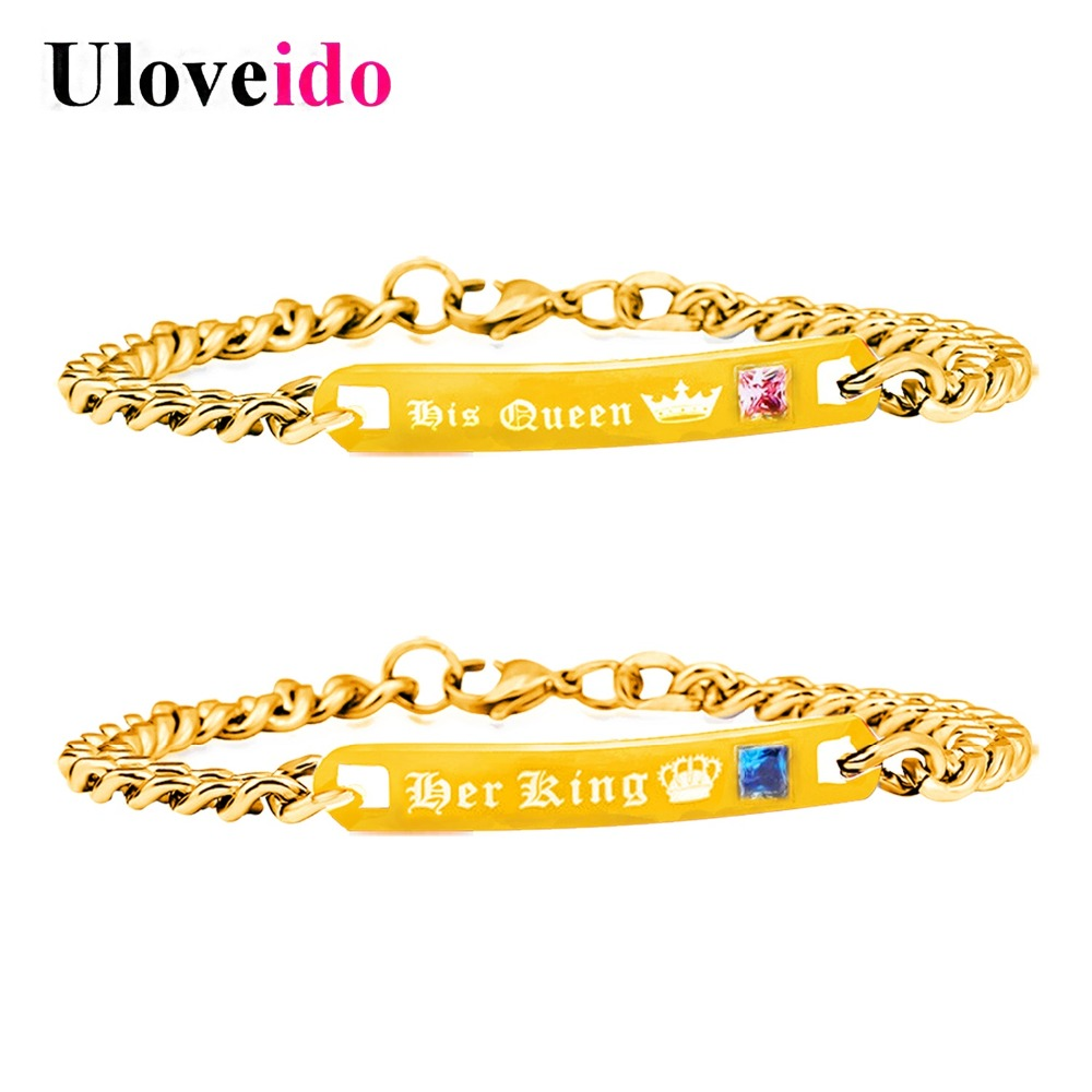 Uloveido Gold Color Titanium Bracelets for Women and Men Couple Stainless Steel Bracelet Her King and His Queen Jewellery SN123
