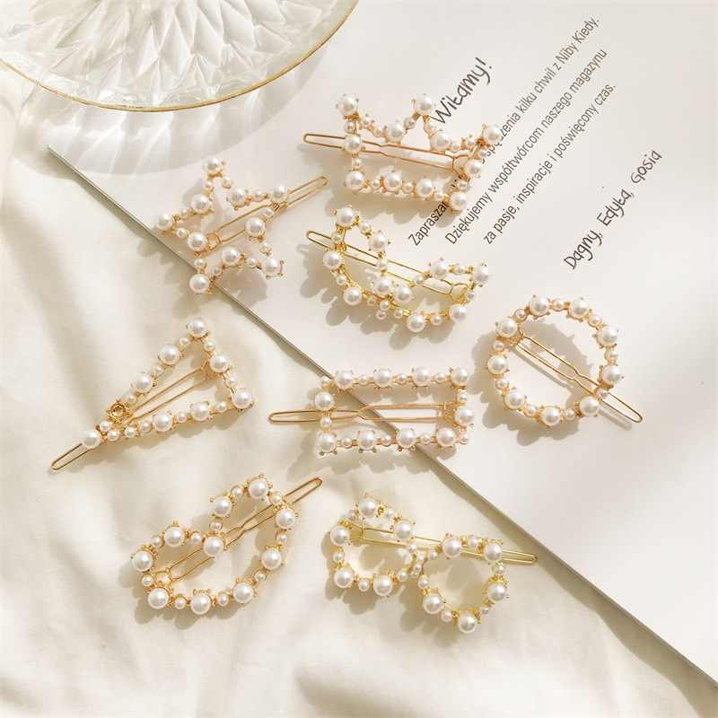 Modyle Fashion Hair Accessories Pearls Hair Clips for Women Sweet Hairpins Alloy BB Handmade Pearl Hairgrips Hairwear