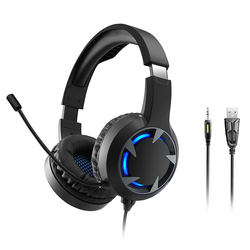 Gaming Headset Glowing Stereo Wire Earphone with Mic for Computer Games HSJ-19