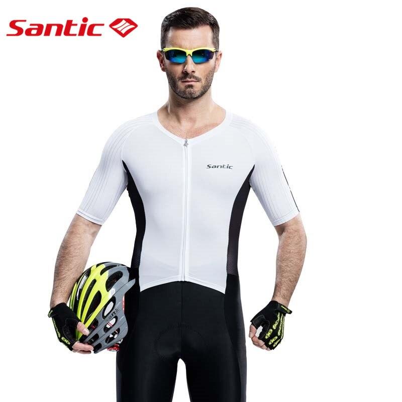 Santic Для мужчин футболка велосипедный трикотаж MTB велосипедная обувь высокого качества в итальянском стиле 4D мягкий дышащий UV400 M6C03009W