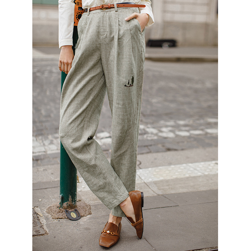 INMAN 2019 Spring Autumn New Arrival Women Artistic Retro Linen Plaid Lady Causal Pants