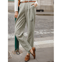 INMAN Spring Spring Autumn Women Artistic Retro Linen Plaid Lady Causal Pants