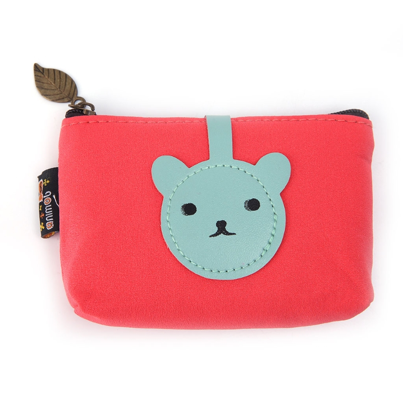 2017 Women Girls Cute Fashion Bear Coin Purse Canvas Wallet Bag Change Pouch Key Card Pocket Holder New Lovely Zip Mini Small 2017 new fashion design women cute pu leather change purse wallet bag girls coin card money pouch portable purse small bag jan12