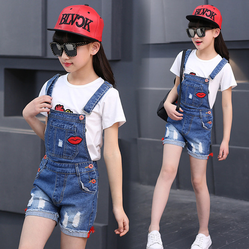 Girls Fashion Denim Jeans Suspender Shorts Red Lips Denim Overall Baby Jumpsuit Casual Girls Summer Overalls Children ClothingGirls Fashion Denim Jeans Suspender Shorts Red Lips Denim Overall Baby Jumpsuit Casual Girls Summer Overalls Children Clothing