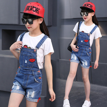 цена на Girls Fashion Denim Jeans Suspender Shorts Red Lips Denim Overall Baby Jumpsuit Casual Girls Summer Overalls Children Clothing