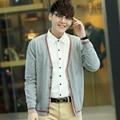 SexeMara Brand Designer Spring Warm Sweater Coat Men V-Neck Patchwork Style Knitted Short Sweaters Jacket Sweatercoat
