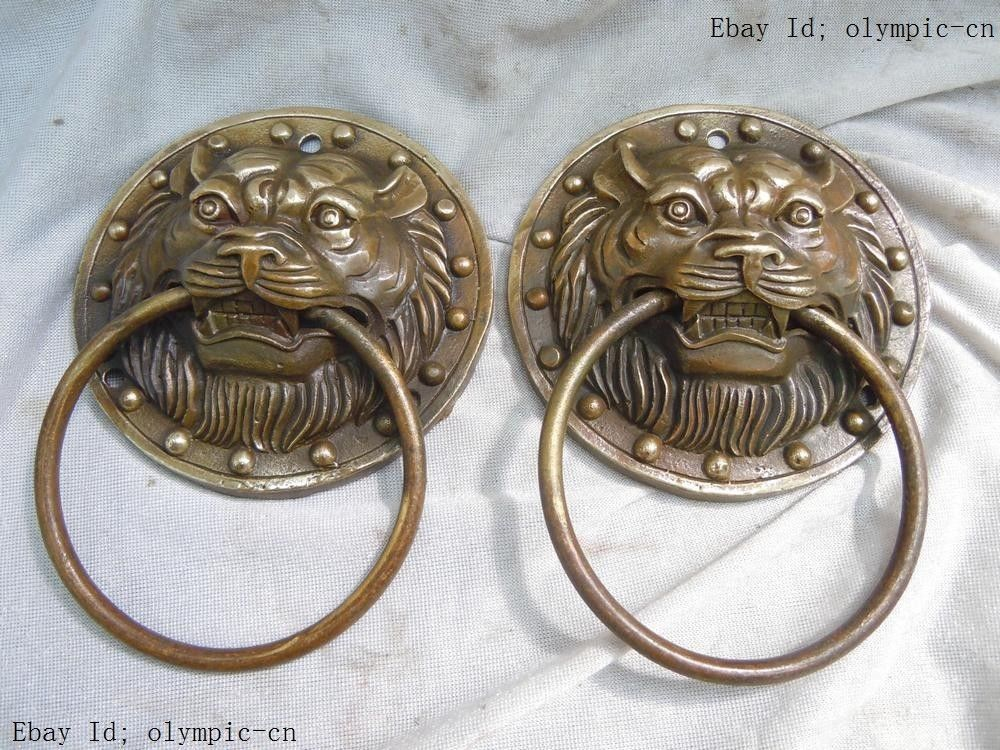 China brass copper carved finely tiger knocker pair Sculpture statueChina brass copper carved finely tiger knocker pair Sculpture statue