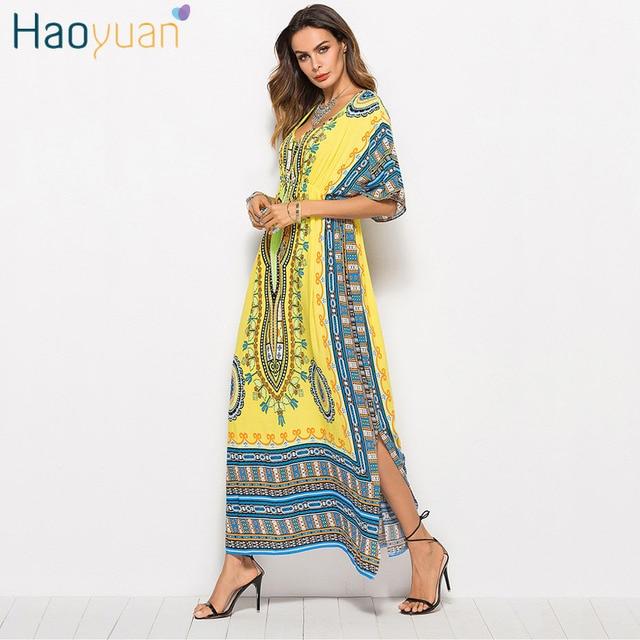 HAOYUAN African Print Plus Size Vintage Dress Women Dashiki Beach Summer  Dresses Boho Bohemian Robe Casual Loose Long Maxi Dress-in Dresses from ...