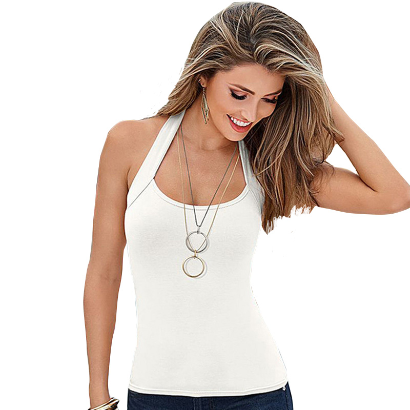 Women's <font><b>Sexy</b></font> Halter Vest Top Tank Tops Women Top Plus Size Summer White Black Blue Short Tops <font><b>Haut</b></font> <font><b>Sexy</b></font> DropShipping image