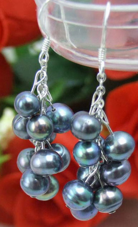 SALE Natural 6-7mm Round Black pearl Dangle 2 inch Grape earring &Stering Silver 925 stud-ear149 Wholesale/retail Free ship