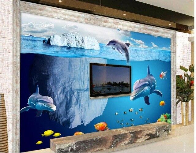 Custom 3d Photo Wall Paper Underwater World Dolphin Iceberg Living Room TV Backdrop Bedroom