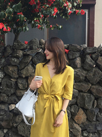 Summer New 2019 Women's Chic Steppe Dress Summer Beach Casual Light Cotton Loose Belt Women's Dress Yellow