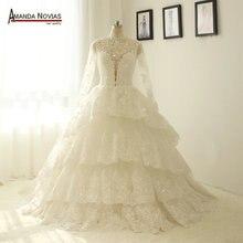 Chaqueta de encaje de cuello alto manga larga vestidos de boda de encaje