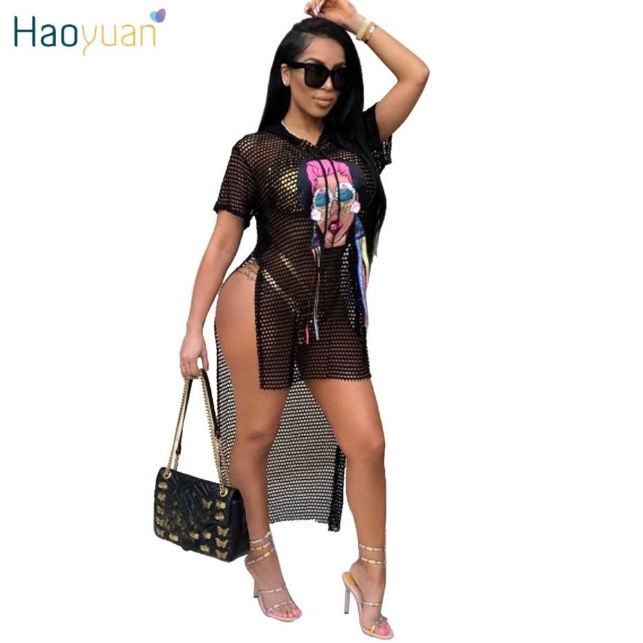 HAOYUAN Plus Size Summer Beach Dress Women Black Mesh Character Print Side Split Maxi Party Dresses Boho See Through Sexy Dress