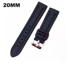 Sprzedaż hurtowa 20 sztuk/partia wysokiej jakości 20 MM gumowy zegarek pasek do zegarka pasek czarny kolor dla zegarek na rękę 08301