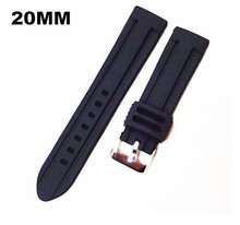 Wholesale   20pcs/lot High quality 20MM rubber Watch band watch strap black color for wrist watch  08301