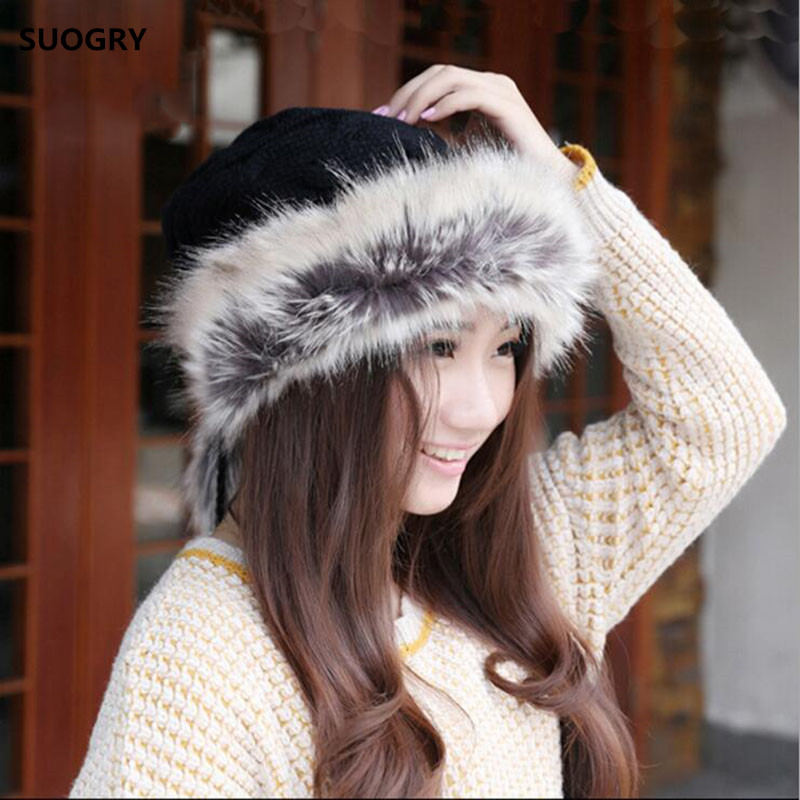 Winter Hat Women Scarves Beanies Fur Cap Warm Plus Hats For Women Baggy Knit Caps Fur Bonnet Ladies Winter Beanie Wool Hat 2017