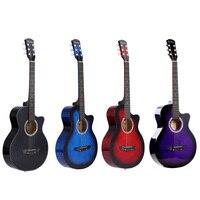 Guitarra acústica de 38 pulgadas de alta calidad, 6 cuerdas, para principiantes, regalo de los estudiantes, 4 colores opcionales