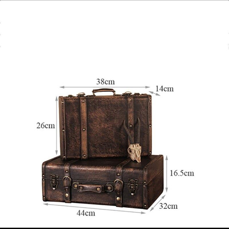 Accessoires d'artisanat en bois rétro européen boîtes en bois à la main décorations vieilles valises en cuir accessoires de tir peintures murales ornements