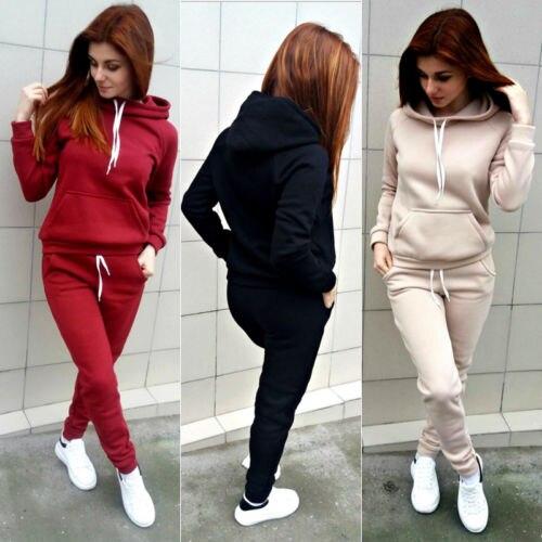 Gogoboi 2Pcs/Set Womens Casual Hooded Tops Long Pants Cotton Tracksuit Sweatshirt Sweat Suit 2pcs OutfitsSet